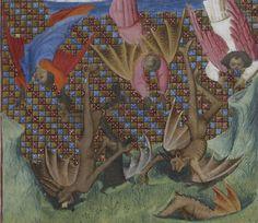 The Fall of the Rebel Angels. Le livre de bonnes mœurs, c. 1400 - 1410, Français 1023, f. 5r, . Bibliothèque nationale de France. http://gallica.bnf.fr/ark:/12148/btv1b8452640n/f17.item