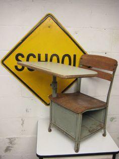 Vintage School Desk Childs' School Desk by rustbeltsanctuary