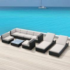 Luxxella Outdoor Patio Wicker BELLA 9 Pc Off White Sofa Sectional Furniture All Weather Couch Set:Amazon:Patio, Lawn & Garden