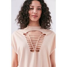 Truly Madly Deeply Macrame Tee ($39) ❤ liked on Polyvore featuring tops, t-shirts, cut-out tops, muscle tees, oversized pink t shirt, oversized tee and crochet t shirt