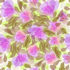 無料の抽象的なseameless花の背景ベクトルグラフィック