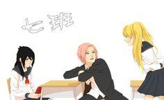 naruto - konoha high school team 7 [naruto, sakura, and sasuke], by steampunkskulls [deviantart]
