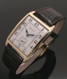 A gold vintage rectangular Rolex watch, 1929 Old Watches, Watches For Men, Vintage Rolex, Vintage Watches, Expensive Watches, Rolex Submariner, Beautiful Watches, Art Deco Fashion, Men Watches