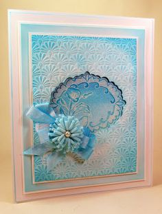 Embossing Folder Card design using one colour (turquoise Pool) of the new Cosmic Shimmer Colour Cloud blending Ink