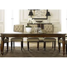 Create the formal dining room you've always wanted with the Liberty Furniture Industries Cotswold Rectangular Dining Table . Its classic elegance. Traditional Dining Tables, Formal Dining Tables, Dining Table Legs, Dining Table In Kitchen, Dining Set, A Table, Dining Rooms, Dining Chairs, Home Decor Furniture