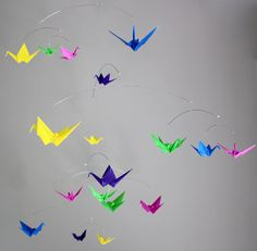 Large Paper Crane Mobile in bright and bold colors.  By The Timeless Crane.  bright bold colors - 1 (1).jpg