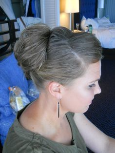 Wedding hair - Bride or bridesmaid updo high bun styled by Carrie at Appease Inc. Need a stylist for your wedding? We travel anywhere! See our website at www.appease2you.com for details.