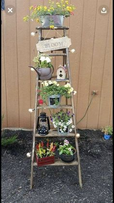 Totally Inspiring Ladder Garden Ideas For Backyard - Old or even broken timber ladders can be put to a number of new uses around the home, shed or garden. Among the ideas you could explore are pot plant . Garden Whimsy, Garden Junk, Garden Yard Ideas, Garden Crafts, Garden Projects, Garden Pots, Outdoor Garden Decor, Glass Garden, Balcony Garden