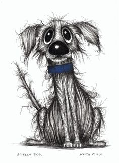 Smelly dog Cute but stinky pooch original drawing by Keith Mills via Etsy.