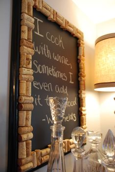 painting chalkboard paint on glass | DIY cork chalkboard |