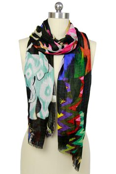 Multicolor Psychedelic Animal Scarf by Saachi on @HauteLook