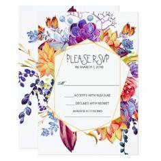 Geometric & Succulents Wedding RSVP Card - wedding invitations diy cyo special idea personalize card