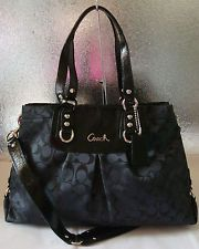 NWT Authentic Coach Signature Sateen Carryall Purse Bag Black