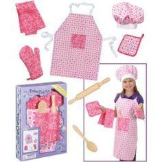Kids Chef Hat Apron Set pink apron