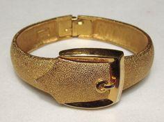 Trifari Buckle Bracelet Clamper Brushed Goldtone by COBAYLEY, $48.00