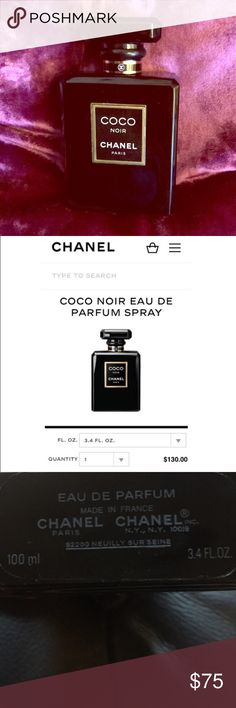 """CHANEL- COCO NOIR EAU DE PARFUM 3.4fl oz COCO NOIR EU DE PARFUM- used a few times. Doesn't suit me but is very elegant. This 3.4fl oz size sells on Chanel.com for $130... The bottle is in my opinion the most beautiful that Chanel makes. I would say the scent is dark, sexy, and a bit unexpected with deep spicy amber notes. Lingers and holds for hours with literally just 1 spray... Chanel website describes as """"Intimate, seductive and intensely brilliant. This luminous Oriental fragrance…"""