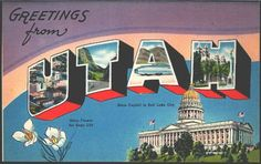 1941 Large Letter Greetings from Utah State Vintage Postcard