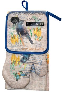 Kitchen Set 3Pk Tui A great three piece set for you kitchen or as a gift.This set contains a tea towel, pot mitt and an oven glove in a matching New Zealand Tui Design.