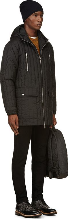 Dsquared2: Black Ribbed Quilted Parka