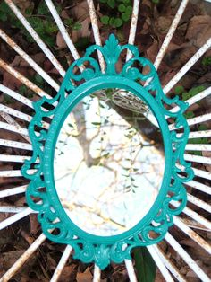 Turquoise Mirror or Frame ,Beach Cottage, Italy Ornate Mirror or  Picture Frame or Fairy Princess Wall Mirror  10 x 7 or Choose Color. $29.99, via Etsy.