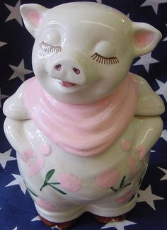 Vintage Shawnee Smiley Pig cookie jar REPAINTED pink Available at Jazz'e Junque in Chicago ~ www.jazzejunque.com