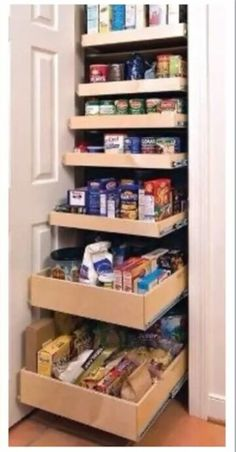 Pull out shelves in a pantry. Awesome!