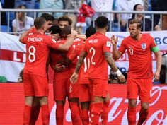 England beat Sweden by 2-0 to enter semi-finals on 07/07/2018. England players celebrate their second goal against Sweden. (AFP Photo)