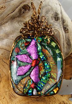 vintage bronze wirewrapped fused dichroic glass floral pendant