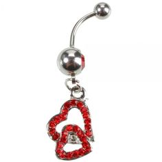 Heart Shaped Design Crystal Belly Button Ring Color(Random Delivery)