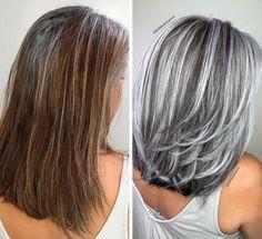 Long Gray Hair, Silver Grey Hair, Brown Blonde Hair, Blonde Hair Going Grey, Brown Hair Going Grey, Grey Hair Natural, Medium Natural Hair, Grey Hair Streak, Stop Grey Hair