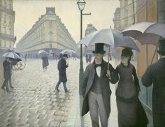 From Art Institute of Chicago, Gustave Caillebotte, Paris Street; Rainy Day (1877), Oil on canvas, 212 1/5 × 276 1/5 cm