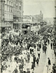 Troops destined for East Africa marching through Durban, West Street, 1914