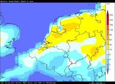 Sneeuwdek volgens ECMWF op dinsdagochtend na de frontale sneeuwval van zondag en maandag!  Geel is 15-30 en oranje meer dan 30! Zin in sneeuw