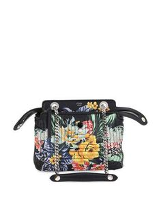 V36BX Fendi Dotcom Click Small Floral Quilted Chain Shoulder Bag, Black/Multi