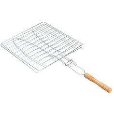 BBQ Barbecue 2 Fish Grilling Basket Roast Folder Tool with Wooden Handle #Affiliate