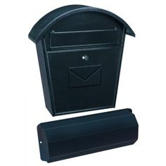 Mailboxes by Colour : Aosta-Set Black Steel Mailbox + Newspaper Holder