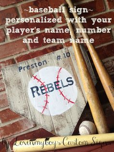 Personalized baseball sign... Like it.. Would be cool to get all players to sign for a keepsake!