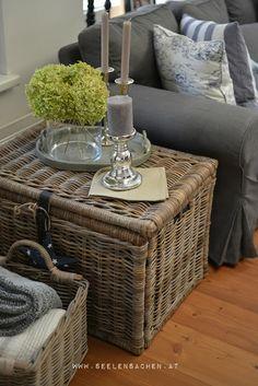 SeelenSachen: September im Wohnzimmer The grey slipcover is oh la la. Decor, Room, Interior, Cozy House, Home Goods Decor, Home Deco, Cozy Living, Wicker, Interior Design