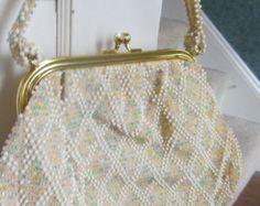 Vintage white & iridescent pastel beaded handbag with matching change purse
