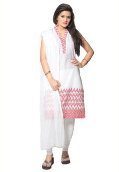 White Cotton Readymade Churidar Kameez