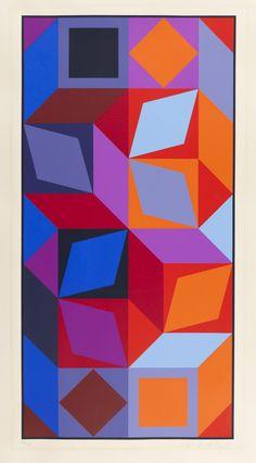 Victor Vasarely, Dom (Bleu-Rouge), 1969.