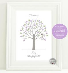 Fingerprint Tree Christening Our beautiful Tree has been lovingly hand-drawn and created as a Fingerprint Tree with our two pretty little owls, Hibou & Hoot who sit proudly on one of the branches with your childs special day in mind. You will be creating a magical piece of artwork when you and your guests leaf your fingerprints onto your tree, a wonderful memento of your childs special day.  Here are the steps involved in creating your perfect tree  Step 1, personalise We will personali...