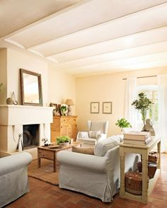 Ceiling and Fireplace and Terracotta Tile Floors