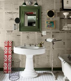 This bathroom's wall is swathed in 1960s Ukranian newspapers, found for $20 at a Pennsylvania flea market.