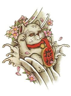 Japanese Coloring Book Page Maneki Neko, Tattoo Flash, Lucky Cat Tattoo, Flash Design, Asian Tattoos, Japanese Koi, Japanese Tattoo Designs, Oriental Tattoo, Tattoo Stencils