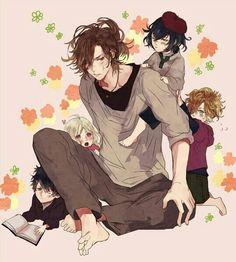 Diabolik Lovers (More Blood)- Yuma and little Yui, Kou, Azusa, and Ruki #Anime #Game #Otome