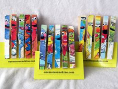 Sesame Street Birthday Favor Clothespin Magnets by OneMoreSunshine