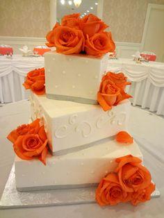Gorgeous Wedding Cake Orange Roses