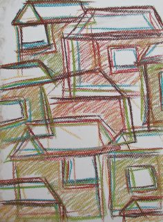 City #art #pastels #city #abstract #finland #drawing