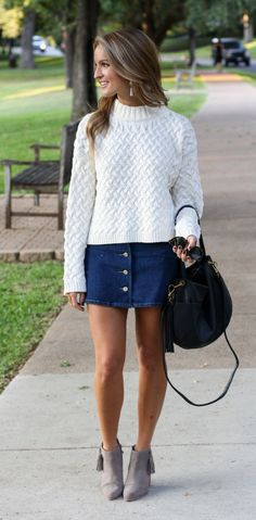 white sweater   denim skirt